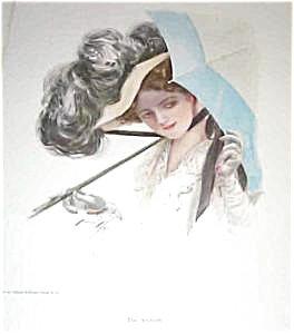Harrison Fisher Print-the Ambush Victorian Lady Parasol