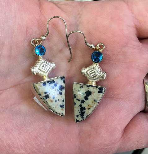 Vintage Sterling Silver Earrings Dalmatian Jasper Blue Topaz Drop