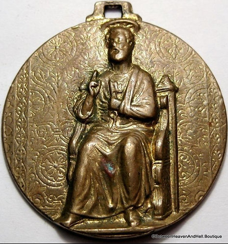 "Large Religious Jewelry 1.5"" Antique Bronze Medal Saint Peter Keys To Heaven"