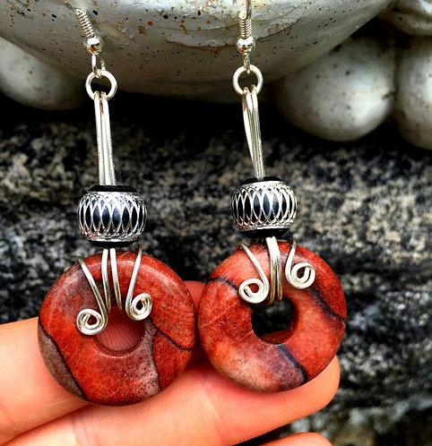 "2.75"" Jasper Wire Wrapped Chunky Dangle Earrings, Handcrafted Jewelry"