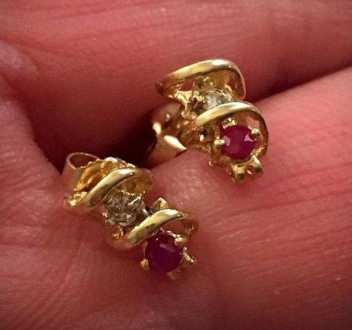 Petite SOLID 14k GOLD RUBY Earrings Diamond Dangle Classic Elegant