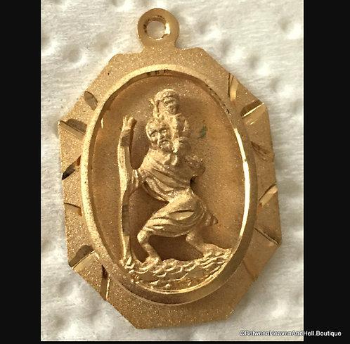 Religious Jewelry: Vintage 14k Gf St. Christopher Medal Saint Pendant Men Ladies