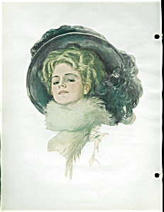 Harrison Fisher Winter Lady Print Victorian Scrapbook Page