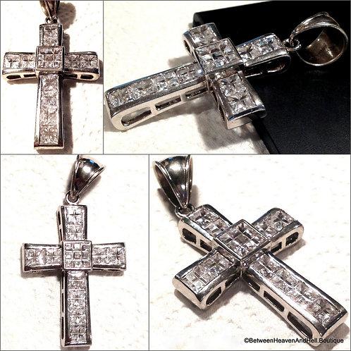 Large Sterling Silver Cross Square Cut CZ stone Pendant Men Ladies