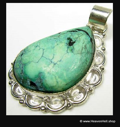Natural Turquoise Free Form Gemstone Pendant, Silver Jewelry