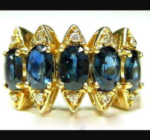 Vintage 3ct 10k Ladies Diamond Sapphire Band Ring Yellow Gold size 9.5