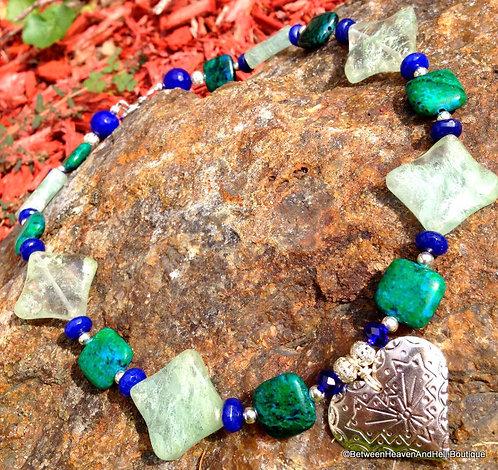 Statement Charm Necklace Chrysocolla Prehnite and Lapis Gemstone Beads