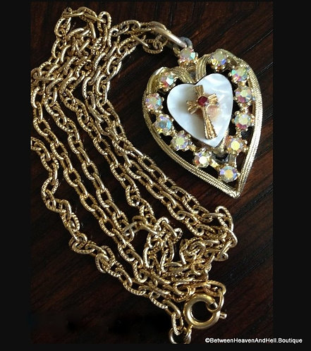Vintage Necklace Mother Of Pearl Ab Rhinestone Cross Pendant