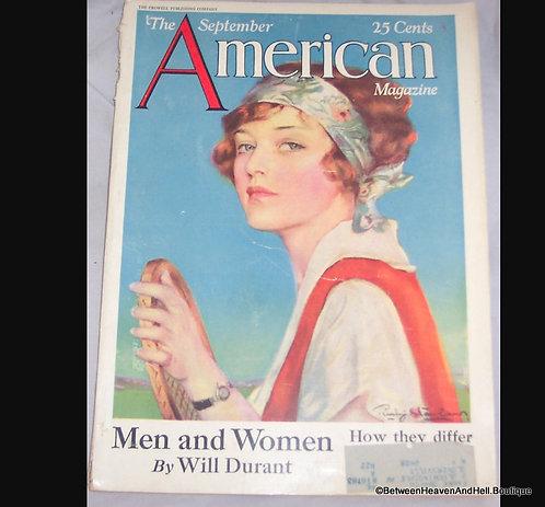 1927 Vintage Artwork Penryhn Stanlaws Tennis Lady American Magazine Cover Art