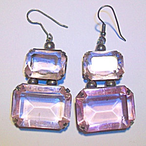 Long Vintage Pink Topaz Glass Earrings Pierced Big