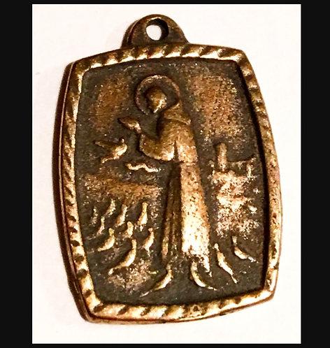 Vintage Bronze Saint Francis Holy Medal Charm Religious Catholic Jewelry