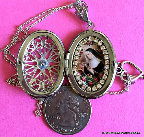 Handmade Religious Jewelry, Rhinestone Shrine Locket Silver Necklace Saint Rita