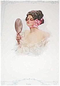 Vanity- Victorian Lady Gazing In Mirror Harrison Fisher Print
