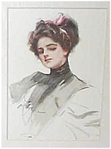 Art Print Harrison Fisher1908 Victorian Beauty With Pink Bow