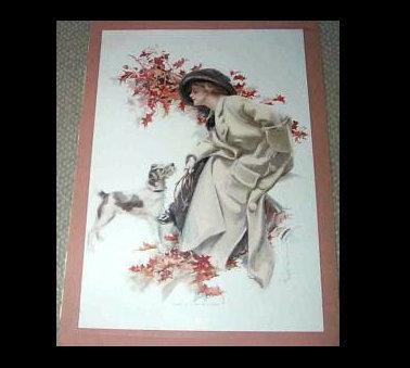 1911 Vintage Edwardian Harrison Fisher Print Jack Russell Terrier Autumn Leaves