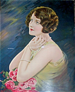 Large Antique Print Lady Moonlight 1910's