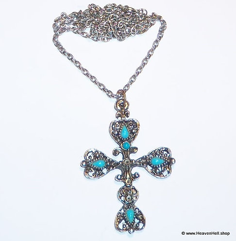 Vintage Large Turquoise Stone Cross Necklace Silver Christian Religious Jewelry
