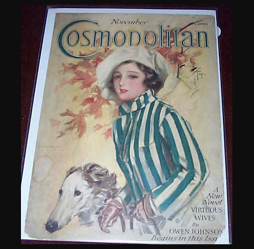 Vintage Harrison Fisher Cosmopolitan Magazine Cover Art Fall Lady Borzoi Dog