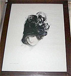 Antique Cosmopolitan Print Harrison Fisher Lady Feather Hat