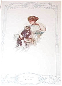 Antique Harrison Fisher Print-leisure Moments- Victorian Lady & Cat