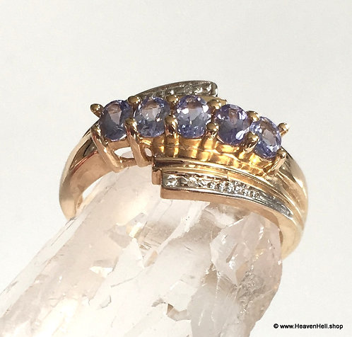 Vintage 14k Gold Tanzanite Ring, 14k Gemstone Ring Size 8, 14k Band Ring