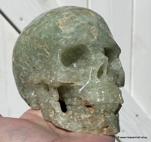 """5"""" Large Prehnite Skull Activated Archangel Raphael Angelic Realm Spirit Guides"""