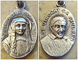 Vintage Signed Holy Medal St. Vincent De Paul Saint Louise