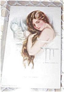 Artist Signed Postcards Harrison Fisher Victorian Vanity Lady
