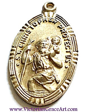 Vintage Saint Christopher Protect Us Medal