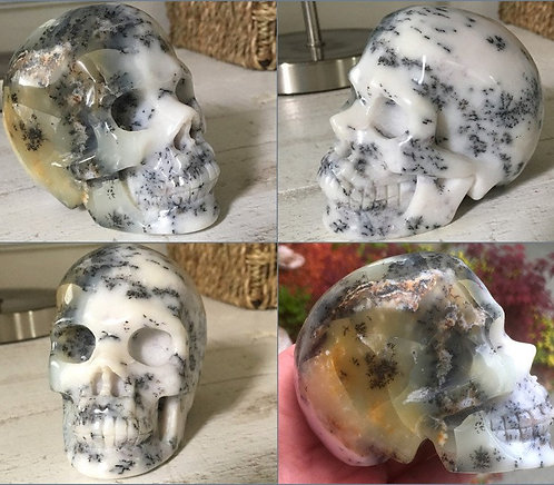 Rare Dendritic Opal Crystal Skull Translucent Gold, Black, White Merlinite Agate