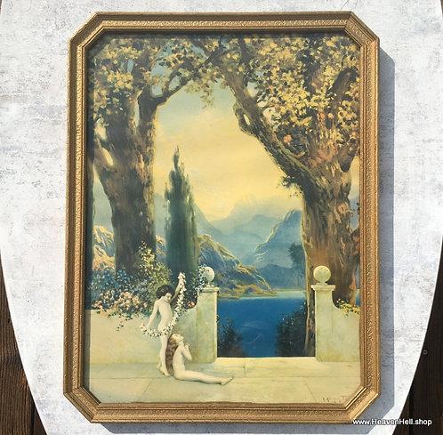 1920's Robert Atkinson Fox Garden of Contentment Print Art Deco Nude Children