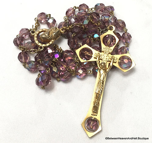 """22"""" AB Wash Lavender Purple Crystal Rosary Beads Gold Cross"""