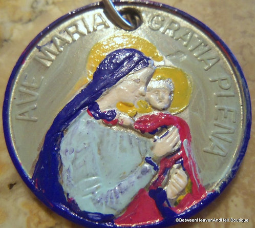 Ave Maria Handpainted Medal Enamel Virgin Mary Pendant Religious Jewelry
