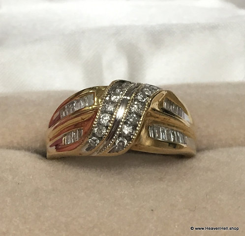 Vintage 14k Gold Diamond Band Ring, Round & Channel Set Baguette 14 gold Jewelry