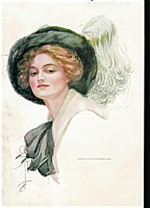 Harrison Fisher Print: Mary: Lady In Big Feather Hat