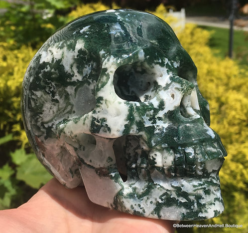 Large Activated Druzy Moss Agate Crystal Skull Powerful Abundance New Beginnings