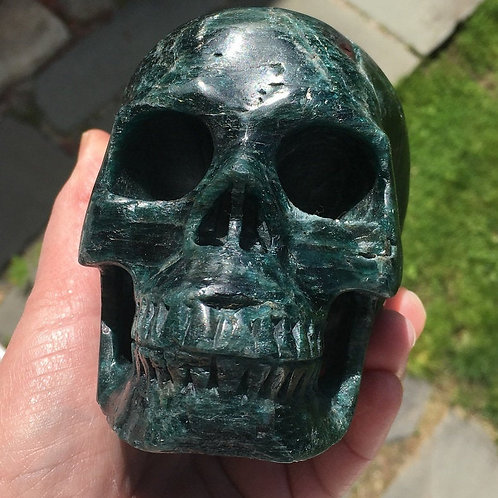 """Large 5"""" Teal Blue Apatite Crystal Skull Activated for Psychic Ability Work"""