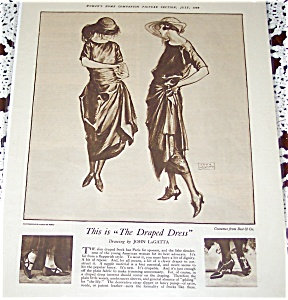 Ladies Art Deco Fashion Ad Illustration John Lagatta Hats & Dresses