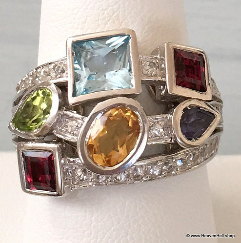Vintage Multi Gemstone Sterling Silver Ring Blue Topaz Garnet Citrine Amethyst