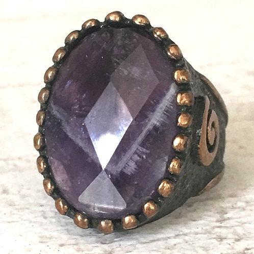 Vintage Unisex Amethyst Ring size 10.25 Spirit Energy Men's Metaphysical Jewelry