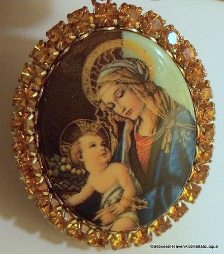Large Locket Rhinestone Pendant Madonna Virgin Mary Baby Jesus