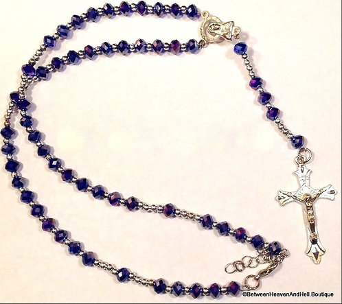 handmade AB Violet Purple Crystal Rosaries Rosary Beads Necklace