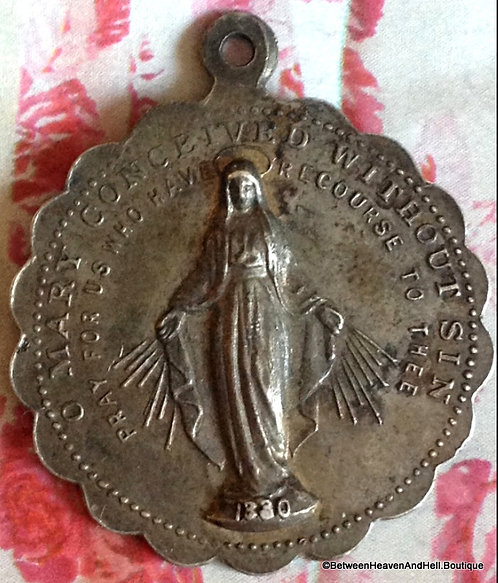 Religious Jewelry: Antique Miraculous Medal Our Lady Of Grace Mother Mary