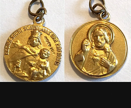 Vintage 10k Gold Scapular Medal Sacred Heart Jesus Virgin Mary Catholic Jewelry