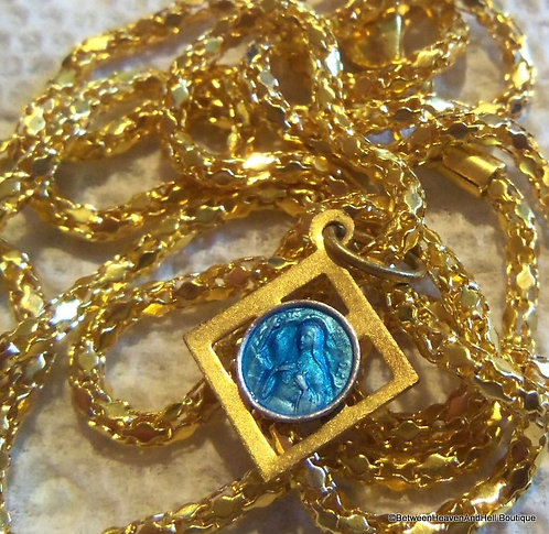 Vintage St. Rita Gold Blue Enamel Medal Charm Necklace, Rare Saint Jewelry