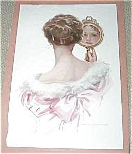 Harrison Fisher Print Victorian Lady Mirror Looking Backwards