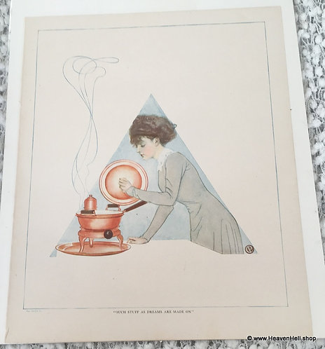 Coles Phillips Fade Away Girl Vintage Print Cooking Kitchen Wall Decor