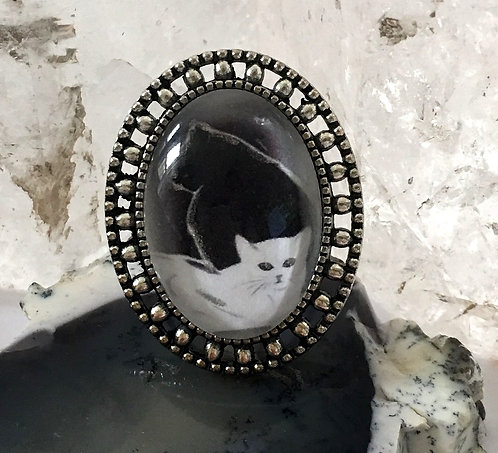 Black & White Cat Altered Art Jewelry Handmade Embellished Silver Statement Ring