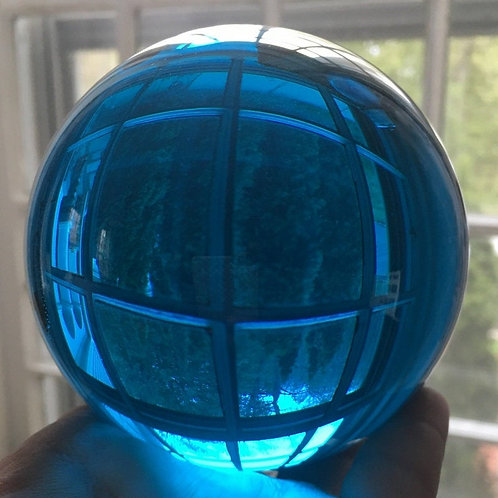 "4"" Turquoise Blue crystal Ball - Scrying Meditation, Visions, Glass Gazing Ball"