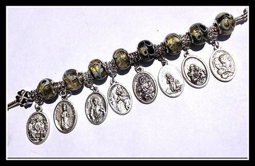 Religious Medals Charm Bracelet European Sterling Silver Black Gold Murano Glass